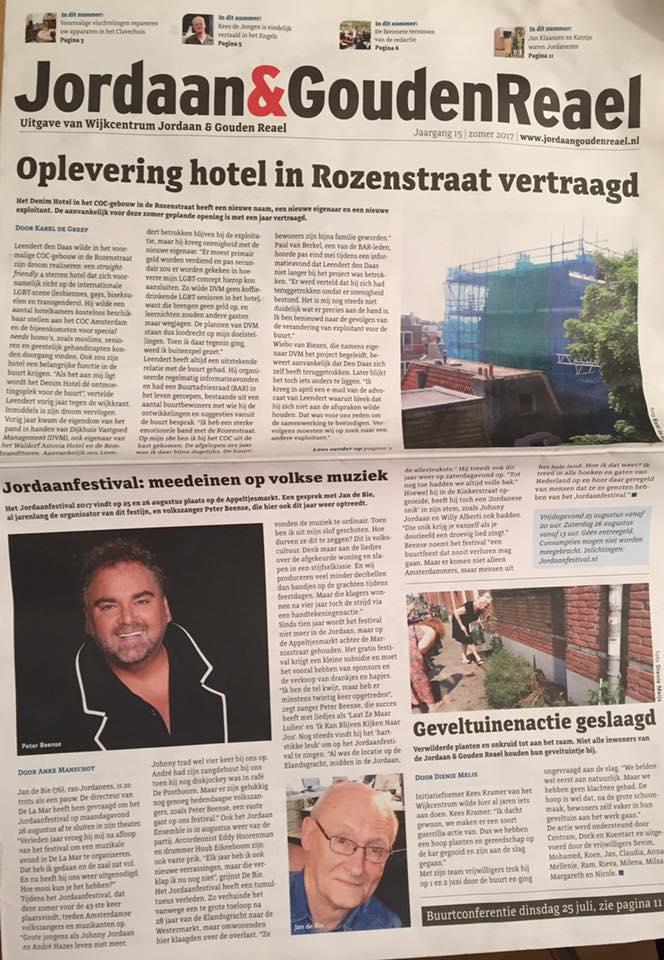 Jordaan Festival op de voorpagina van Wijkkrant Jordaan & Gouden Reael!